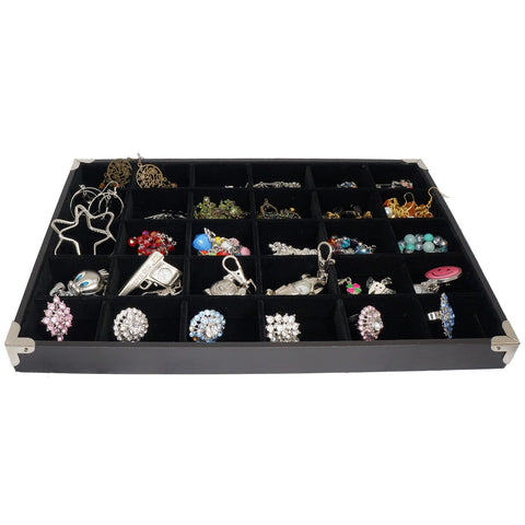 Black Jewelry 30 Compartment Display Case with Silver Decorative Corner, 35x24cm, for Presentation