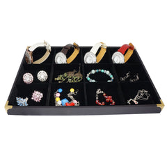 Black Jewelry 12 Compartment Display Case with Golden Decorative Corner, 35x24cm for Presentation