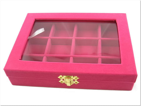 12 Compartment Jewelry Display Small Glass Top Box, Fuchsia Color
