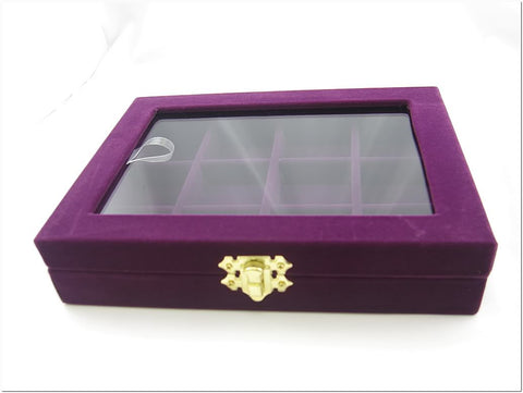 12 Compartment Jewelry Display Small Glass Top Box, Purple Color