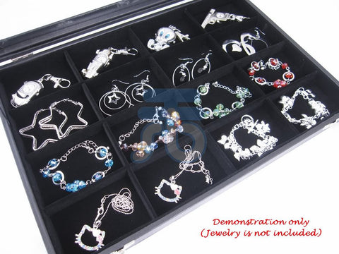 16 Compartment Jewelry Display Glass Top Box, Black Color