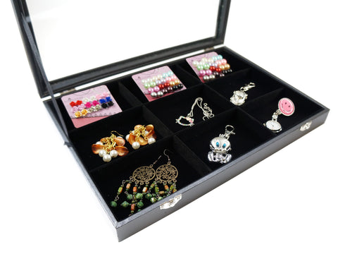9 Compartment Black Velvet Liner Protable Jewelry Glass Top Display Box