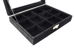 Black Velvet Jewerly Glass Top Lid 12 Compartment Display Travel Box Case Showcase