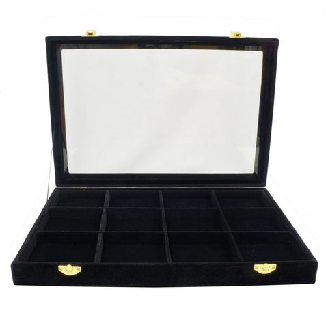 12 Compartments Black Velvet Glass Top Lid Jewelry Display Box