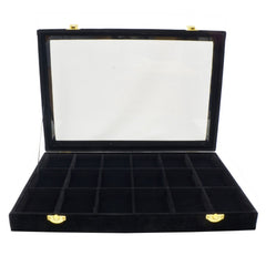 18 Compartments Black Velvet Glass Top Lid Jewelry Display Box