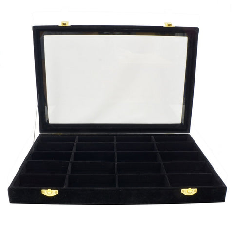 20 Compartments Black Velvet Glass Top Lid Jewelry Display Box