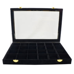 24 Compartments Black Velvet Glass Top Lid Jewelry Display Box