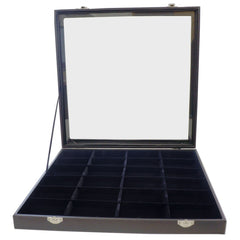 Large Black Glass Top Lid 24 Compartments Jewelry Display Box, 35x35x4.5cm