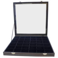 Large Black Glass Top Lid 36 Compartments Jewelry Display Box, 35x35x4.5cm