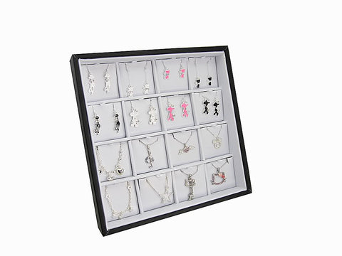 White Faux Leatherette Jewelry Display Case with Easel Stand for Earrings, Pendants, 16 Compartments
