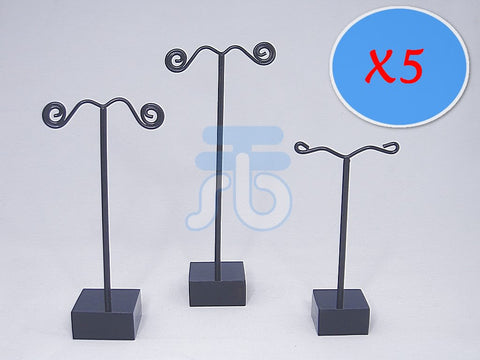 Pack of 15 Jewelry Earring Tree Display Stands (Black Pole and Black Base)