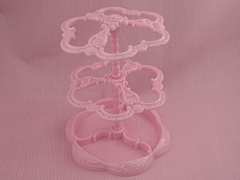 Pink Acrylic Vintage Style Jewelry Display Stand for Earrings, 2 Layer, Rotatable