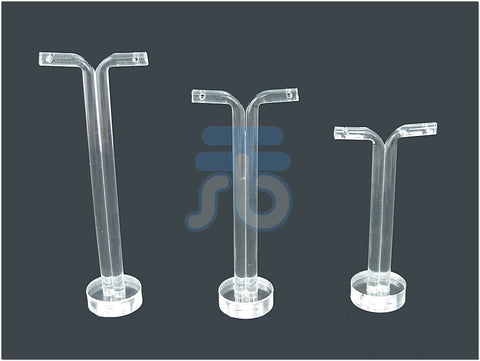 Clear Acrylic Jewelry Display T Stand for Stud, Dangle, Hoop Earrings (Round Base)