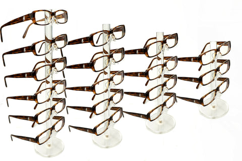 New Set of 7 Clear Acrylic Eyeglass Sunglasses Glasses Display Stand