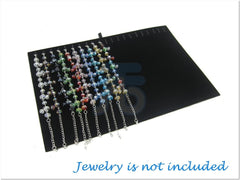Black Velvet Jewelry Display Board Insert for Bracelet, Necklace, 20 Clips