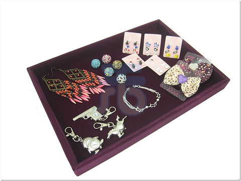 Purple Velvet Utility Jewelry Display Tray, Multi-purpose, 35x24cm