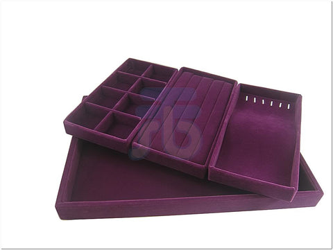 Purple Velvet Jewelry Display Tray with Ring, Bracelet, Necklace, and 8 Compartment Insert