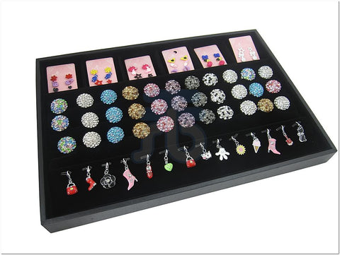 Black Velvet Jewelry Display Tray with 6 Compartment, 3 Continous-Slot for Rings, 14 Clips for Pendants