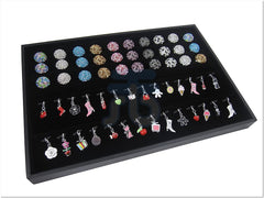 Black Velvet Jewelry Display Tray with 3 Continous Ring Slot, 28 Clips for Pendants