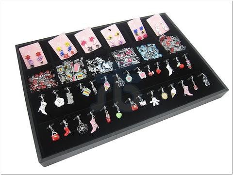 Black Velvet Jewelry Display Tray with 12 Compartments, 28 Pendants Clips