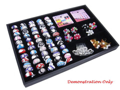 Countertop Protable Jewelry Display Case - 60 Ring / Cuff Slots Plus 6 Compartments