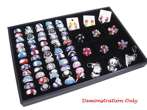 Countertop Protable Jewelry Display Case - 60 Ring / Cuff Slots Plus 12 Compartments