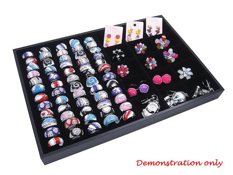 Countertop Protable Jewelry Glass Top Display Box - 60 Ring / Cuff Slots Plus 15 Compartments