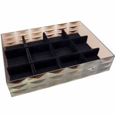 "Stackable 12 Compartment Display Tray for Jewelry Organizer, 7.5""x5.6""x1.6"", Transparent Brown"