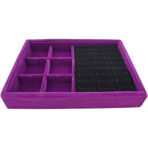 Purple Velvet Jewelry Display Case Tray for Rings Cuffs and 6 Compartments, 20x15x3cm