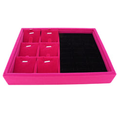 Fuchsia Velvet Jewelry Display Case Tray for Rings Cuffs Charms Pendants, 20x15x3cm