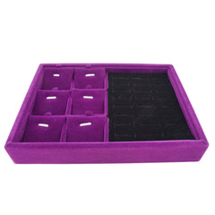 Purple Velvet Jewelry Display Case Tray for Rings Cuffs Charms Pendants, 20x15x3cm