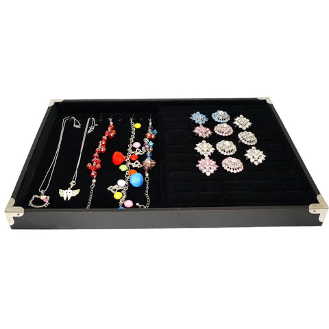 Black Jewelry Display Case with Silver Decorative Corner, 35x24cm, for Ring / Cuff / Bracelet / Necklace