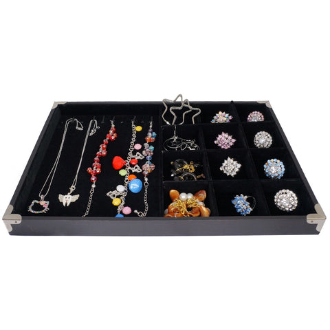 Black Jewelry Display Case w Silver Decorative Corner, 35x24cm, 10 Clips for Bracelet Necklace , 12 Compartments