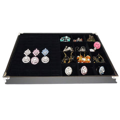 Black Jewelry Display Case w Silver Decorative Corner, 35x24cm, 60 Slot for Ring / Cuff , 12 Compartments