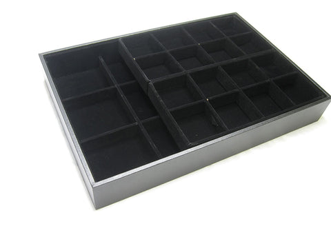 Black Velvet 2 Layers Multi-purpose Jewelry Display Case (28 Compartments)