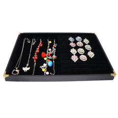 Black Jewelry Display Case with Golden Decorative Corner, 35x24cm, for Ring / Cuff / Bracelet / Necklace
