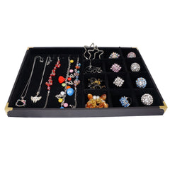 Black Jewelry Display Case w Golden Decorative Corner, 35x24cm, 10 Clips for Bracelet Necklace , 12 Compartments