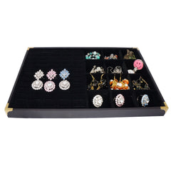 Black Jewelry Display Case w Golden Decorative Corner, 35x24cm, 60 Slot for Ring / Cuff , 12 Compartments