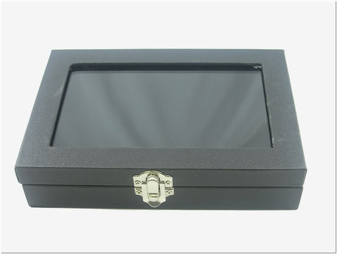 Small Multi-purpose Black Faux Leather Glass Top Jewelry Display Box Case