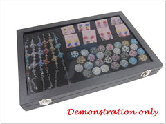 Glass Top Black Velvet Jewelry Display Tray with Ring, Bracelet, Necklace, and 8 Compartment Insert