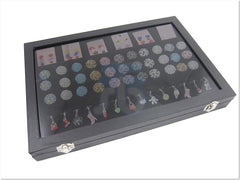 Glass Top Lid Black Velvet Jewelry Display Box with 6 Compartment, 3 Continous-Slot for Rings, 14 Clips for Pendants
