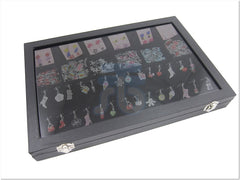 Glass Top Lid Black Velvet Jewelry Display Box with 12 Compartments, 28 Pendants Clips