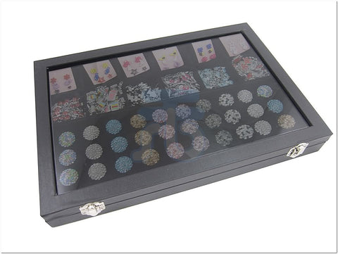 Glass Top Lid Black Velvet Jewelry Display Box with 3 Continous Rings Slot, 12 Compartments