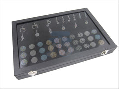 Glass Top Lid Black Velvet Jewelry Display Box with 3 Continous Ring Slot, 12 Pendants Pads