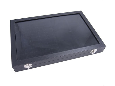 Countertop Protable Glass Top Jewelry Display Box - 60 Ring / Cuff Slots Plus 6 Compartments