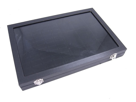 Countertop Protable Jewelry Glass Top Display Box - 60 Ring / Cuff Slots Plus 9 Compartments