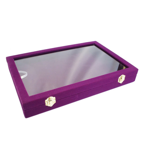 Purple Velvet Glass Top Lid Jewelry Display Presentation Showcase Box, 35x24cm