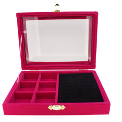 Fuchsia Velvet Jewelry Display Glass Top Lid Box for Rings Cuffs and 6 Compartments, 20x15x4.5cm