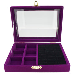 Purple Velvet Jewelry Display Glass Top Lid Box for Rings Cuffs and 6 Compartments, 20x15x4.5cm