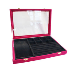 Fuchsia Velvet Glass Top Jewelry Display 3in1 Multi-purpose Storage Showcase Box